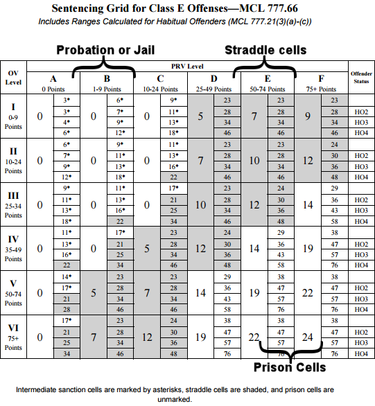 Sentencing Grid for Class E Offenses